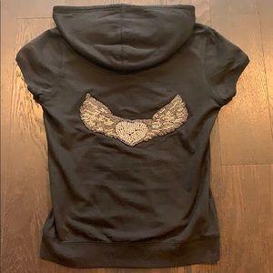 Twisted Heart black zip up hoodie